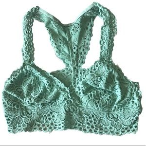 Arie Small Teal Pad Lined Lace Racer Back Bralette